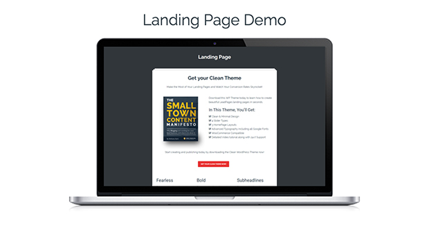 Clean WordPress theme Landing Page Demo