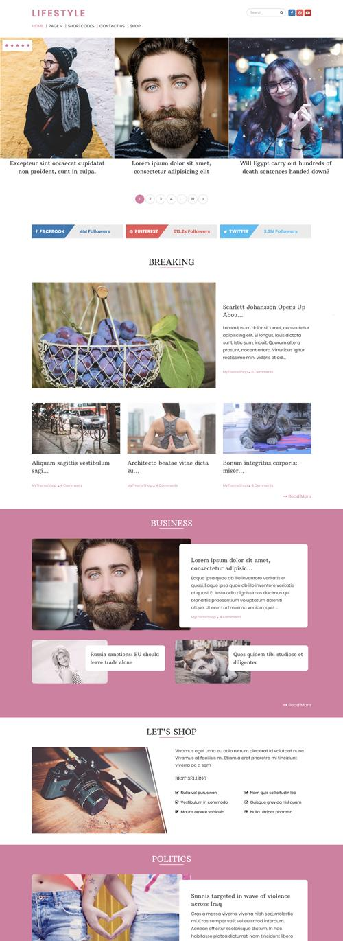 Lifestyle WordPress Theme is a new Elegant, Magazine theme