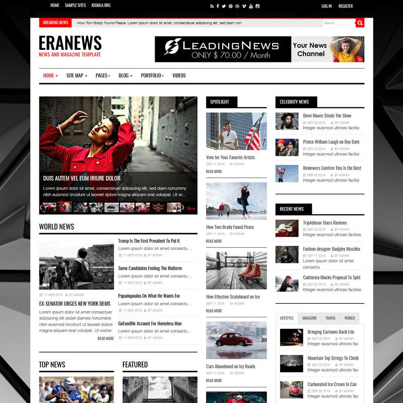 10 Hottest Joomla & WordPress News Templates-Eranews News and Magazine Joomla Template
