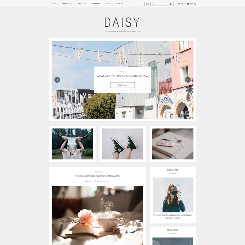 WordPress Themes To Skyrocket Your Instagram Blog - Daisy - Exquisite Blog WordPress Theme
