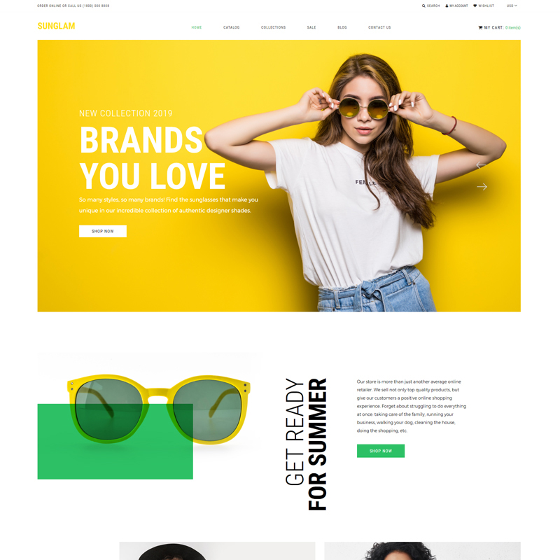 Best 5 Sunglasses Shopify eCommerce Themes - Sunglam - Eye Glasses Multipage Clean Shopify Theme