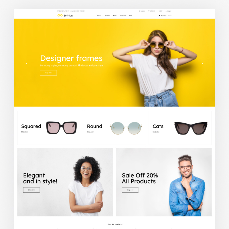 Best 5 Sunglasses Shopify eCommerce Themes - Sunglasses Store Template Shopify Theme