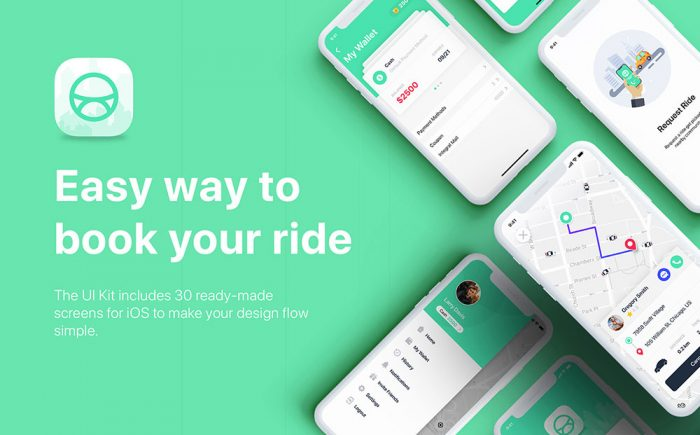Taxi Booking App UI Kit Sketch Template